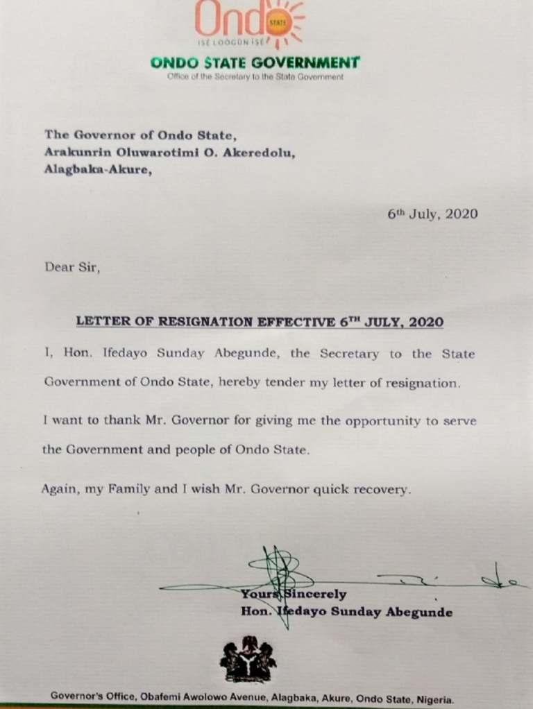 Ondo SSG resignation